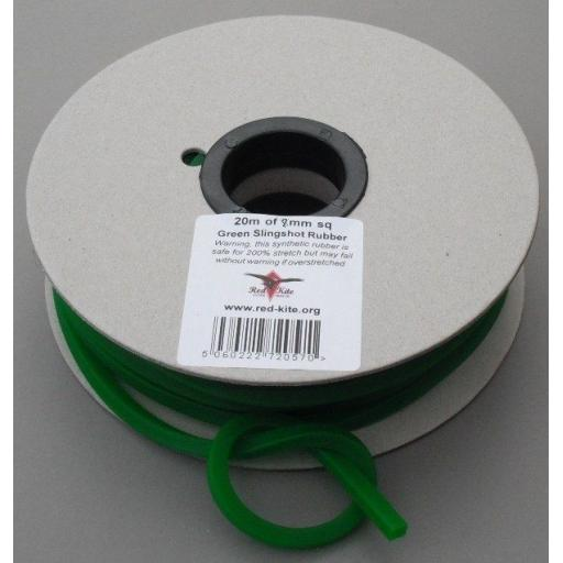 Red Kite Square Catapult Rubber 4, 5.5, 7 and 8mm. Red, Green and Black